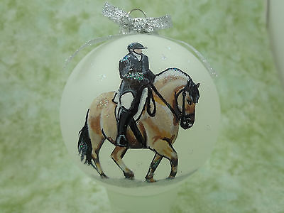 H040 Hand-made Christmas Ornament - horse - fjord dressage rider