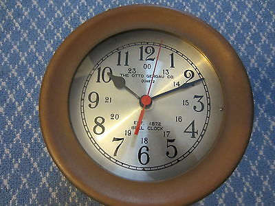 "Solid Brass Ship Style Battery Operated Clock and ""The Otto Gerdau Co"" GNC-150"