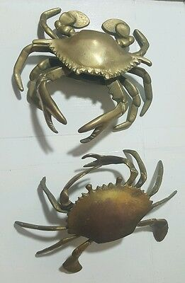 Vintage Pair Brass Crab Ashtray Hinged Lid Trinket Box Nautical Decor