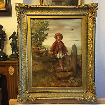 J ROBERT 1864 Girl holding a posy Oil Painting on Canvas, signed