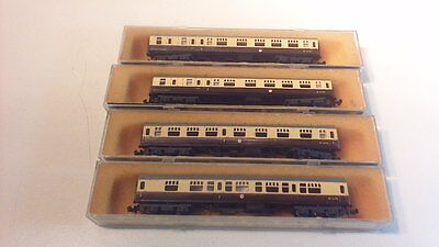 Minitrix 4 X British Rail  Coaches N Gauge Boxed