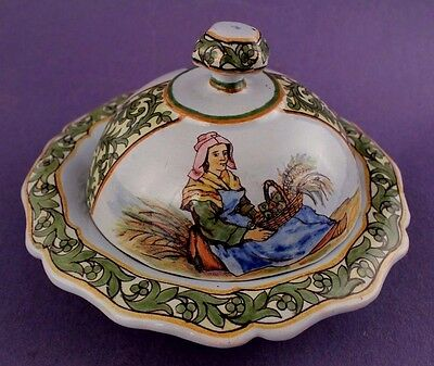 19th Century Porquier Beau QUIMPER French Faience Covered Butter Dish RARE Mold