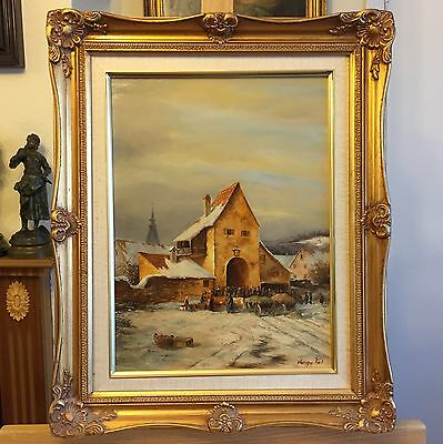 P VARGA - People in front of a Church Oil Painting on Wood in gild Frame, signed