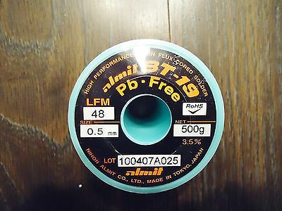 NEW BT-19 Pb-FREE 0.5mm 500 gm. CORED SOLDER WIRE. P/N 28084875, BT-19-LFM-48