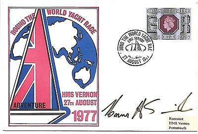 Round the World Yacht Race 1977  HMS Vernon Special Handstamp Signed Unknown.