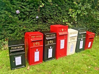 Royal Mail Replica ER Post Box White, Red & Black Post Office British Letterbox