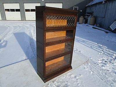 Antique C-1910 Signed Gunn Leaded Top 4 Section Tiger Oak Barrister Bookcase