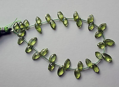 Peridot (Untreated Gemstone) AA Grade 9x8mm Hand Faceted Briolette Marquise