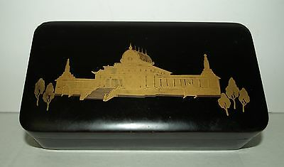 Japanese lacquer box Meiji period gold painted Palace scene
