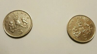 1970 (5 new pence) & (five pence) 1989