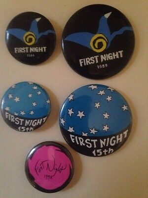 Boston First Night  Button Pin. 5 Pieces. 1989 1990 1991