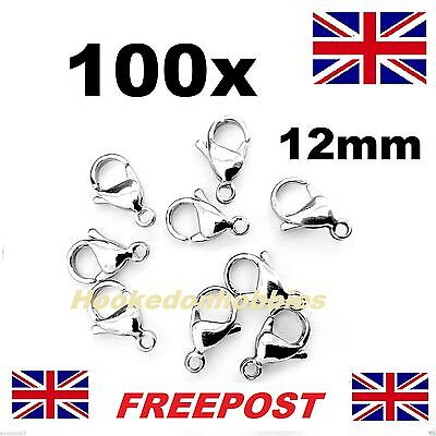 100Pcs 12mm Silver Plated Lobster Clasps Parrot Clasps Findings Fastener