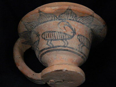 """Ancient Indus Valley Teracota Painted Cup With Ibex C.2500 Bc  """"t15600"""
