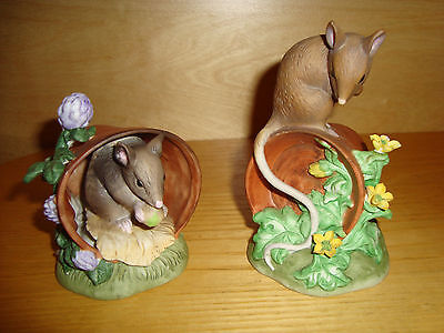 """Alfretto Porcelain Collection - Mice on Pot -Two Figurines 12"""""""