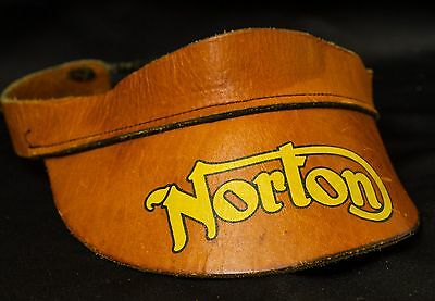 Vintage 1960-70s Norton Motorcycles~Leather Visor~Hat~Cafe Racer~RARE~HTF