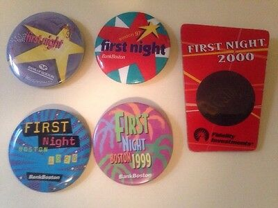 Boston First Night  Button Pin. 5 Pieces. 1996 1997 1998 1998 2000