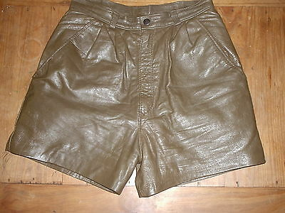 Ladies vintage high waist leather shorts khaki size 8 pleated front FREE POSTAGE
