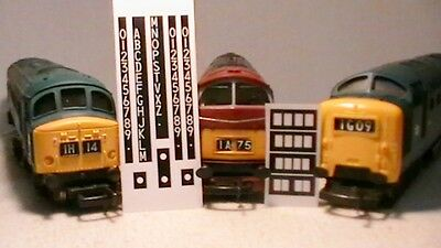 TRIANG, HORNBY LIMA ECT DIESEL HEAD CODE'S 3.6mm STICKER DECAL'S FOR CLASS'S