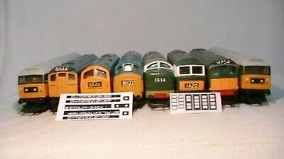TRIANG, HORNBY LIMA ECT DIESEL HEAD CODE'S 4.0mm STICKER DECAL'S FOR CLASS'S