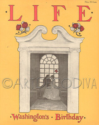 Antique 1905 LIFE Magazine Art Cover LOVERS Love Romance WASHINGTONS BIRTHDAY