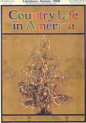 Antique 1908 CHRISTMAS TREE Ornament Candle Light Holiday Magazine Cover Art