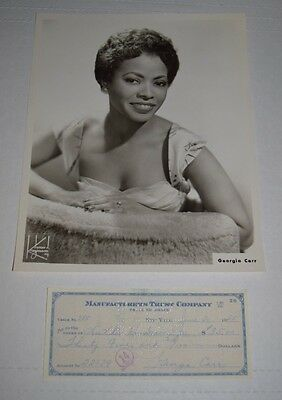 Orig promo photo jazz/pop singer actress GEORGIA CARR 1950s w/ signed check *d