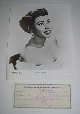Orig promo photo jazz/pop singer actress GEORGIA CARR 1950s w/ signed check *e