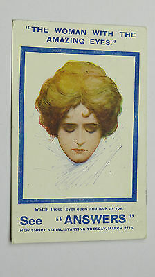 1906 Advert Postcard Newspaper The Woman With The Amazing Eyes Optical Illusion