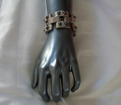 Bold and Beautiful Vintage Old  Mexico Mexican  Silver Black Onyx Wide Bracelet
