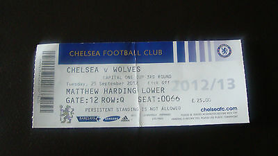 Chelsea V Wolves 2012 - Chelsea Football Club Ticket Stub