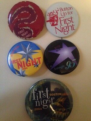 Boston First Night  Button Pin. 5 Pieces. 1987 19881995 1994 2004