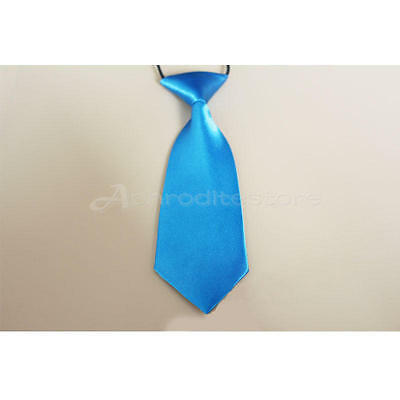 Fashion School Boys Children Kids  Wedding Solid Colour Elastic Tie Necktie Blue