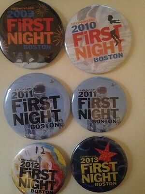 Boston First Night  Button Pin. 6Pieces.  2009-2013