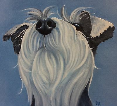 original oil painting of Schnauzer by Sulky Cow artist Lizzie Hall