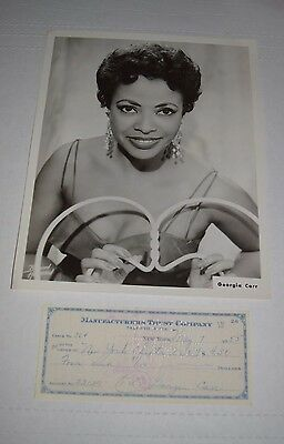 Orig promo photo jazz/pop singer actress GEORGIA CARR 1950s w/ signed check *f