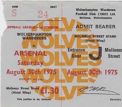 Ticket Wolves v Arsenal 75/76