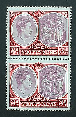 ST KITTS-NEVIS SG73c 3d Block of 2 King George VI 1938-50 Unmounted Mint MNH.