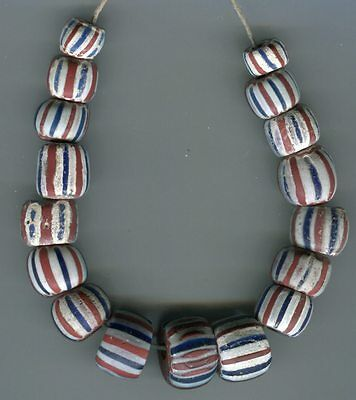 African Trade beads Vintage Venetian glass 4 and 5 layer striped chevrons old