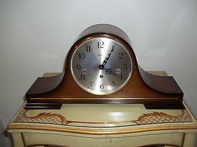 Fully Restored Linden Tambour Case Triple Chime Mantel Clock