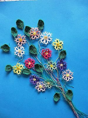 tatting and crochet flowers and leaves