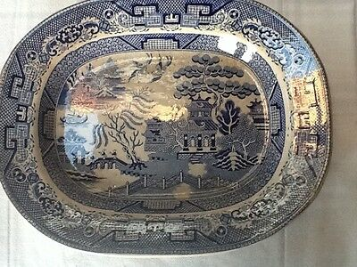 antique English Blue Willow Transferware Platter