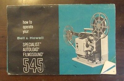 Bell & Howell  545 Projector Manual Guide Instruction Booklet