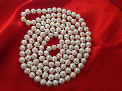 WOW!!!   Large 50 inch Continuous strung 9mm White Pearl Necklace