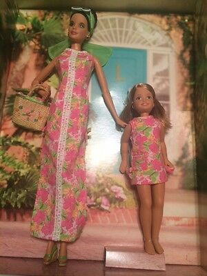 HTF 2005 Lilly Pulitzer Shift Dress Barbie & Stacie Doll Set Silver Label NRFB