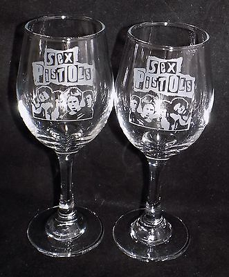"New Etched ""SEX PISTOLS WINE GLASS(ES)""  - Buy 1 or 2 - Can Be Gift Boxed"