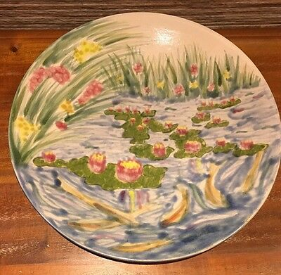 Cobridge Stoneware Large Charger Plate Hand Decorated Water Lillies   Moorcroft