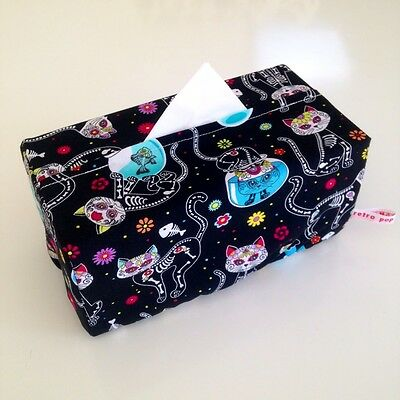THE Retro Pop Homewares Tissue Box Cover Day of the Dead Skeleton Cats