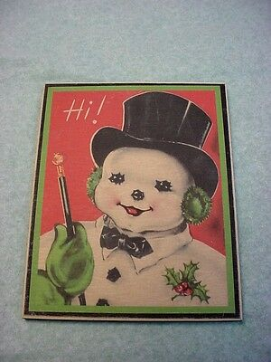 """Vintage Christmas Frosty The Snowman Wall Plaque Pictured 10"""" X 8"""" USA Made"""