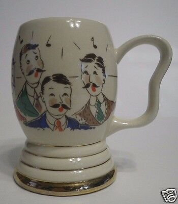 Vintage Novelty Barbershop Quartet Beer or Coffee Mug Stein with Clapper Bell