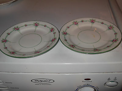 Two 1905 + E Brain Foley Art China Side Plates  With A Pink Rose Pattern